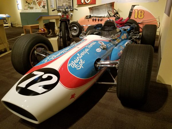 A Formula One car is on display at the Mercer Museum. (Peter Crimmins/WHYY)