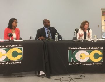 Three of four Democratic candidates for Delaware Attorney General debated in Wilmington. Seated left to right are Lakresha Roberts, Chris Johnson and Kathy Jennings.(Zoe Read/WHYY)