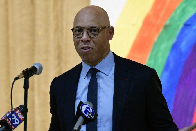 Dr. William Hite, Superintendent for the Philadelphia School District speaks at the announcement of the Inside Out art program, Edward Gideon Elementary School, on Tuesday June 12, 2018. (Bastiaan Slabbers for WHYY)