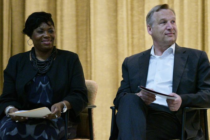 Shauneille Taylor, Principal at Edward Gideon Elementary School and Timothy Rub, CEO of Philadelphia Museum of Art. (Bastiaan Slabbers for WHYY)