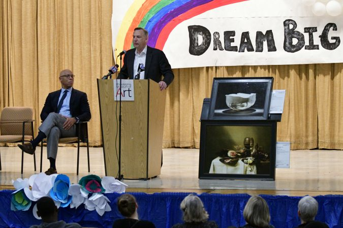 Timothy Rub, CEO of Philadelphia Museum of Art speaks at the announcement of the Inside Out art program, Edward Gideon Elementary School, on Tuesday June 12, 2018. (Bastiaan Slabbers for WHYY)