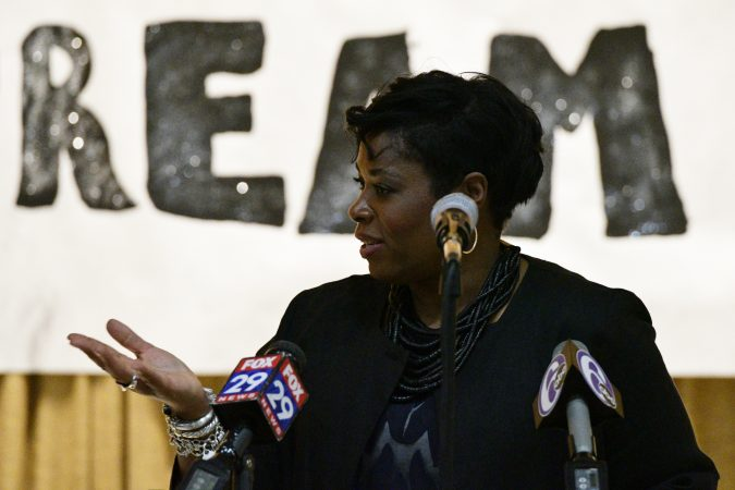 Shauneille Taylor, Principal speaks at the announcement of the Inside Out art program, Edward Gideon Elementary School, on Tuesday June 12, 2018. (Bastiaan Slabbers for WHYY)