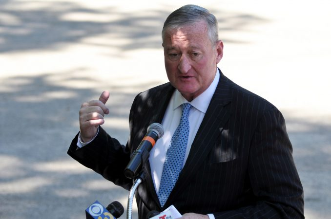 Major Jim Kenney speaks as the city officially announces the development of Bethel Burying Ground Historic Site Memorial during a ceremony at Weccacoe Playground, in South Philadelphia, on Tuesday June 12, 2018. (Bastiaan Slabbers for WHYY)