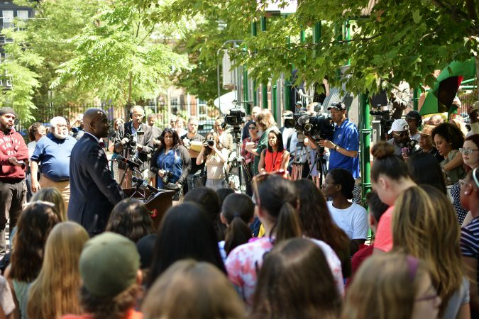 Community members and elected officials gather as the city announces the development of Bethel Burying Ground Historic Site Memorial during a ceremony at Weccacoe Playground, in South Philadelphia, on Tuesday June 12, 2018. (Bastiaan Slabbers for WHYY)