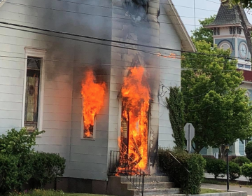 A commercial truck snagged electric utility wires that sparked a fire in theAllen African Methodist Episcopal Church in Cape May. (Courtesy of Matthew Eck, Cape May Fire Department)