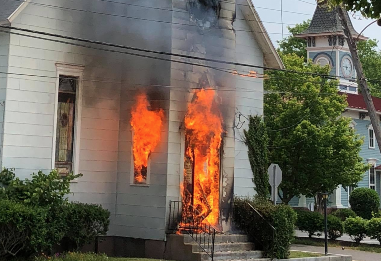 A commercial truck snagged electric utility wires that sparked a fire in the Allen African Methodist Episcopal Church in Cape May. (Courtesy of Matthew Eck, Cape May Fire Department)