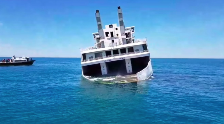 A screen-capture from a video posted on YouTube by Wildwood Video Archive of the MV Twin Capes sinking last Friday.