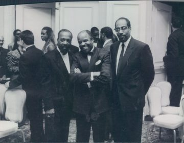 """(From left) Leon Huff, Barry Gordy, and Kenny Gamble known as """"The Three Kings"""" in Washington D.C in 1990s, photographed by Ron St. Clair and part of a showcase of his work being featured for Black Music Month  (Provided)"""