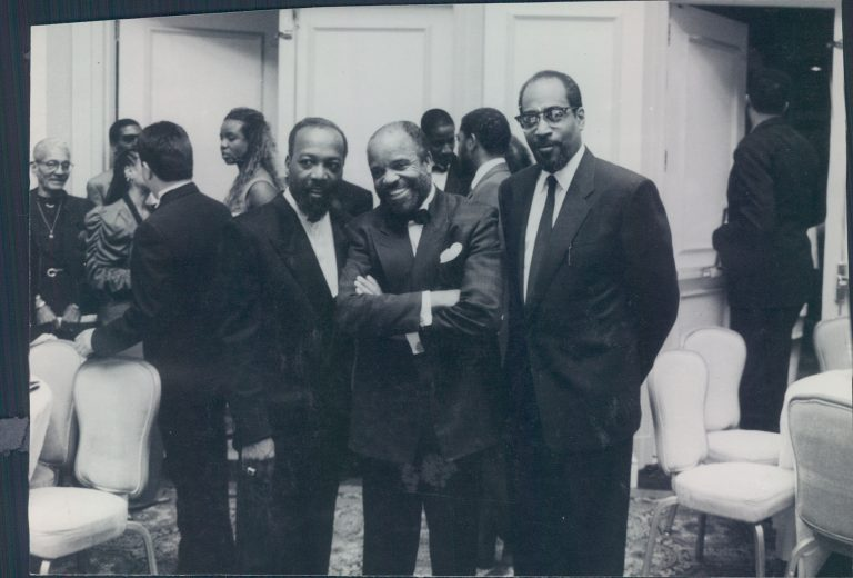 "(From left) Leon Huff, Barry Gordy, and Kenny Gamble known as ""The Three Kings"" in Washington D.C in 1990s, photographed by Ron St. Clair and part of a showcase of his work being featured for Black Music Month  (Provided)"