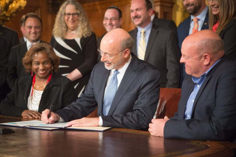 Gov. Tom Wolf signing an anti-discrimination executive order in April 2016. (Courtesy of Pa. Dept. of General Services)