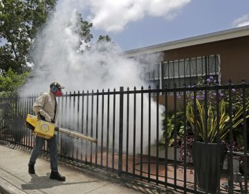 A Miami-Dade County mosquito control worker sprays around a home in August 2016 in the Wynwood area of Miami. A University of Florida study recently identified the first known human case of the mosquito-borne Keystone virus. (Alan Diaz/AP)