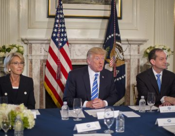 President Donald Trump, flanked by Education Secretary Betsy DeVos, (left), and Labor Secretary Alexander Acosta, answers questions in August of 2017, at Trump National Golf Club in Bedminster, N.J. Today the White House announced plans to merge the two departments. (Pablo Martinez Monsivais/AP)