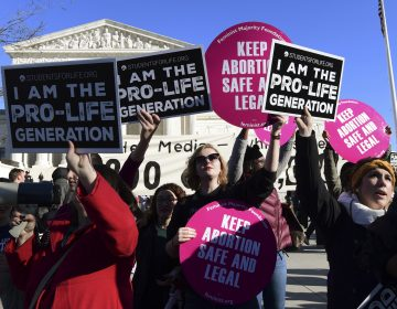 Protesters on both sides of the abortion issue gather outside the Supreme Court in Washington on Jan. 19 during the March for Life. (Susan Walsh/AP)