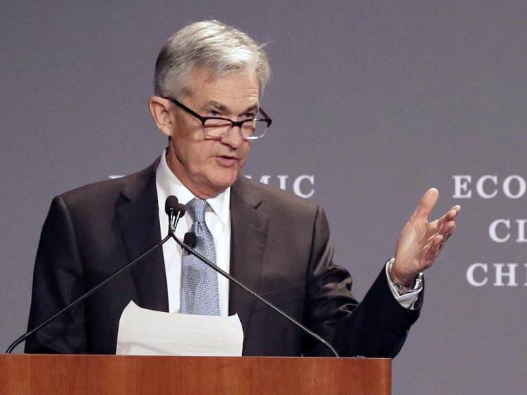 Federal Reserve Chairman Jerome Powell speaks before the Economic Club of Chicago on April 6. The central bank raised a key short-term rate by a quarter-point on Wednesday, the second increase this year. (Charles Rex Arbogast/AP)