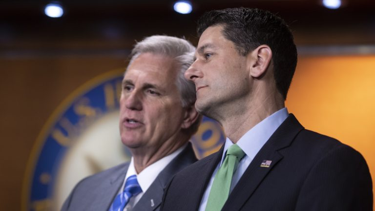 House Majority Leader Kevin McCarthy, R-Calif., and Speaker of the House Paul Ryan, R-Wis., confer during a news conference following a closed-door GOP meeting on immigration last week. J. Scott Applewhite/AP