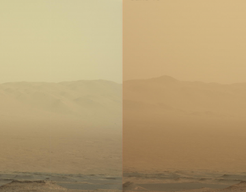These two views from NASA's Curiosity rover, acquired specifically to measure the amount of dust inside Gale Crater, show that dust has increased over three days from a major Martian dust storm. The left-hand image shows a view of the east-northeast rim of Gale Crater on June 7, 2018 (Sol 2074); the right-hand image shows a view of the same feature on June 10, 2018 (Sol 2077). NASA/JPL-Caltech/MSSS