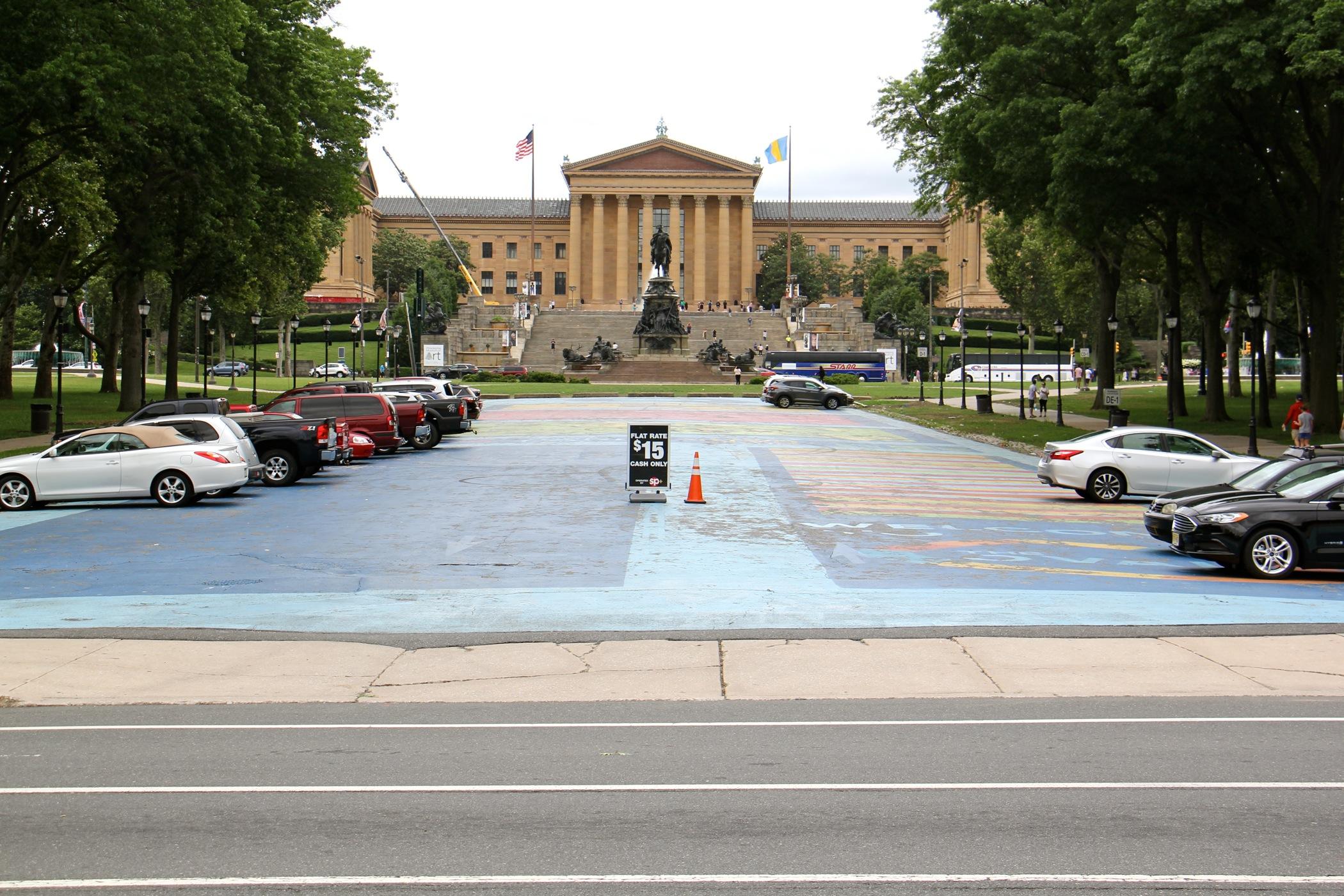 Eakins Oval facing the Philadelphia Museum of Art.