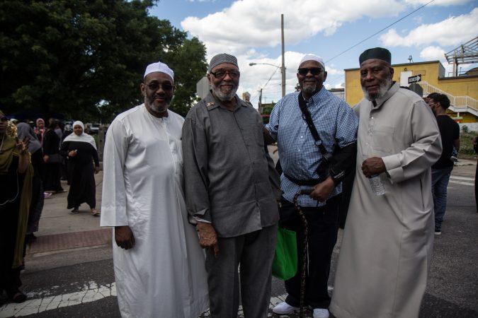 Ak Abdul Salahubdin, Richard Hassan, Zakee Williams, and Rasheed Beyah attended an Eid al-Fitr celebration, marking the end of Ramadan. (Kimberly Paynter/WHYY)