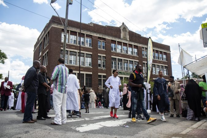 The Philadelphia Muslim community gathered at Clara Muhammad Square for an Eid al-Fitr celebration, marking the end of Ramadan. (Kimberly Paynter/WHYY)
