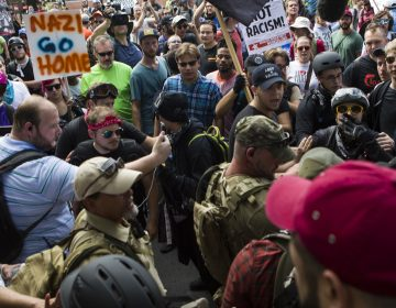 Protesters and counterprotesters clash during the