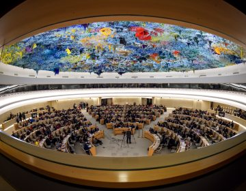 The United Nations Human Rights Council in Geneva, Switzerland, seen earlier this year during a presentation on the conflict in Syria. On Tuesday, Secretary of State Mike Pompeo and Ambassador Nikki Haley announced that the U.S. will be withdrawing from the council. (Fabrice Coffrini/AFP/Getty Images)