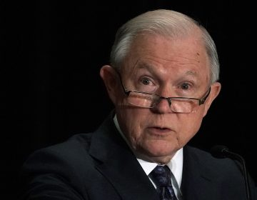 Attorney General Jeff Sessions delivers remarks at the Justice Department's Executive Officer for Immigration Review (EOIR) Annual Legal Training Program on Monday in Tysons, Va. Sessions spoke about his plan to limit reasons for people to claim asylum in the U.S