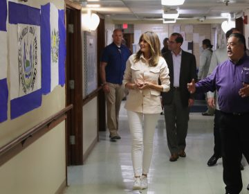 First lady Melania Trump walks through the facility after a round table discussion with doctors and social workers at the Upbring New Hope Childrens Center operated by Lutheran Social Services of the South on Thursday in McAllen, Texas. (Chip Somodevilla/Getty Images)