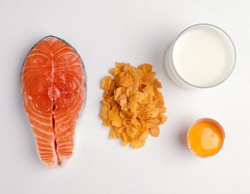 A serving of salmon contains about 600 IUs of vitamin D, researchers say, and a cup of fortified milk around 100. Cereals and juices are sometimes fortified, too. Check the labels, researchers say, and aim for 600 IUs daily, or 800 if you're older than 70. (Dorling Kindersley/Getty Images/Dorling Kindersley)