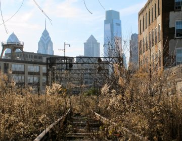 A 2011 view of the elevated Reading Viaduct in the Callowhill neighborhood. A now-refurbished area will open as the Rail Park this month. (PlanPhilly)