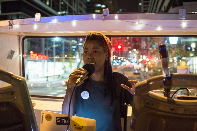 Kilamanzego performs as part of the 2016 Double Decker Music Series, which combines live music with a bus tour of Philadelphia. (Credit: Scott Troyan)
