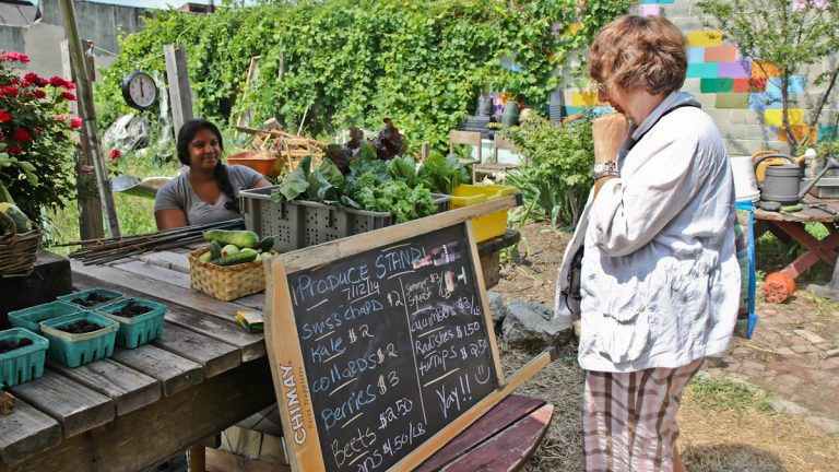 Shazana Goff (left) operates the La Finquita farm stand in July of 2014. (Kimberly Paynter/WHYY, file)