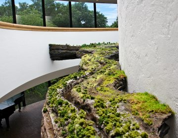 A miniature version of the Brandywine River winds around the spiral staircase in the three-story atrium of the Brandywine River Museum. The commissioned work, by Kathleen Vance, is part of