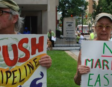 About 150 people showed up at a rally in West Chester on Saturday to urge the state's Public Utility Commission to shut down Sunoco's Mariner East pipeline project.