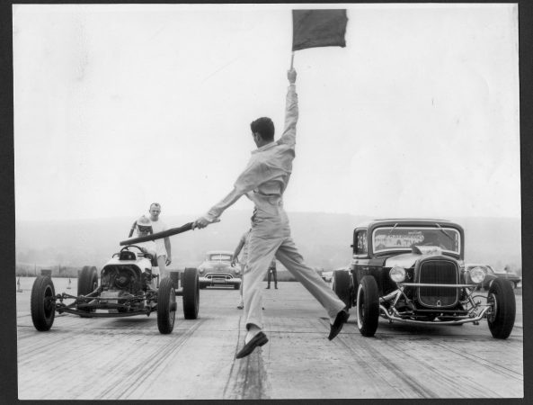 The starting flag at Convair Field speedway in Allentown in 1956. (Courtesy Joseph McNally)