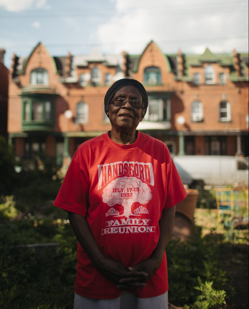 Mildred Johnson in the Viola Street Community Garden. She has lived in East Parkside since 1956.