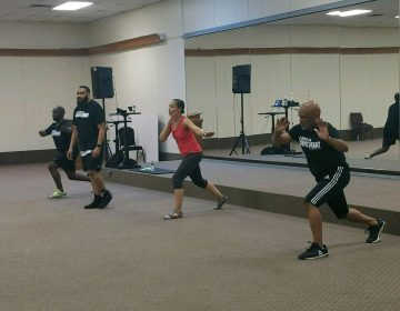 Participants take part in a Les Mills class at the Resurrection Center Church in Wilmington. (Andrea Gibbs/WHYY)