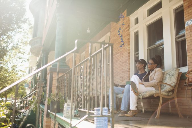Randy and Joyce Smith on their Viola Street porch. Neal Santos for PlanPhilly