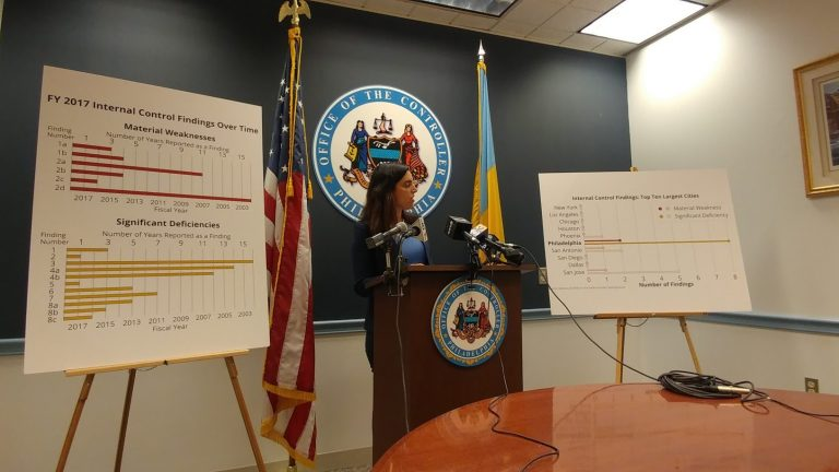 Philadelphia's City Controller Rebecca Rhynhart points out problems with city financial controls. (Tom MacDonald/WHYY)