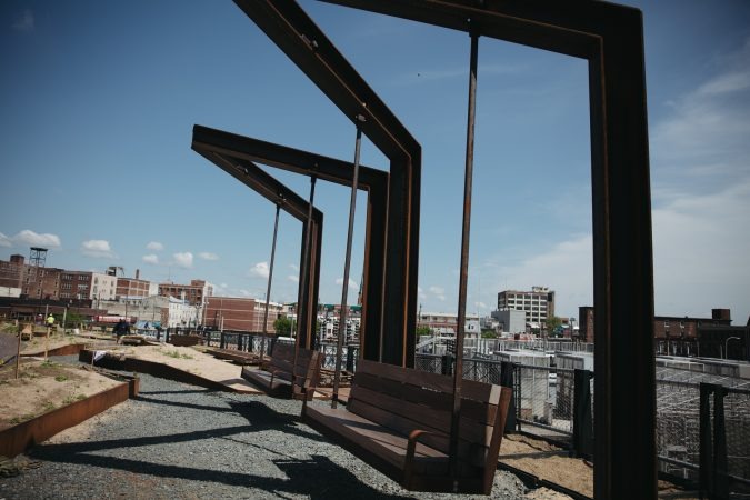 Swings suspended over Callowhill in the Rail Park, May 2018