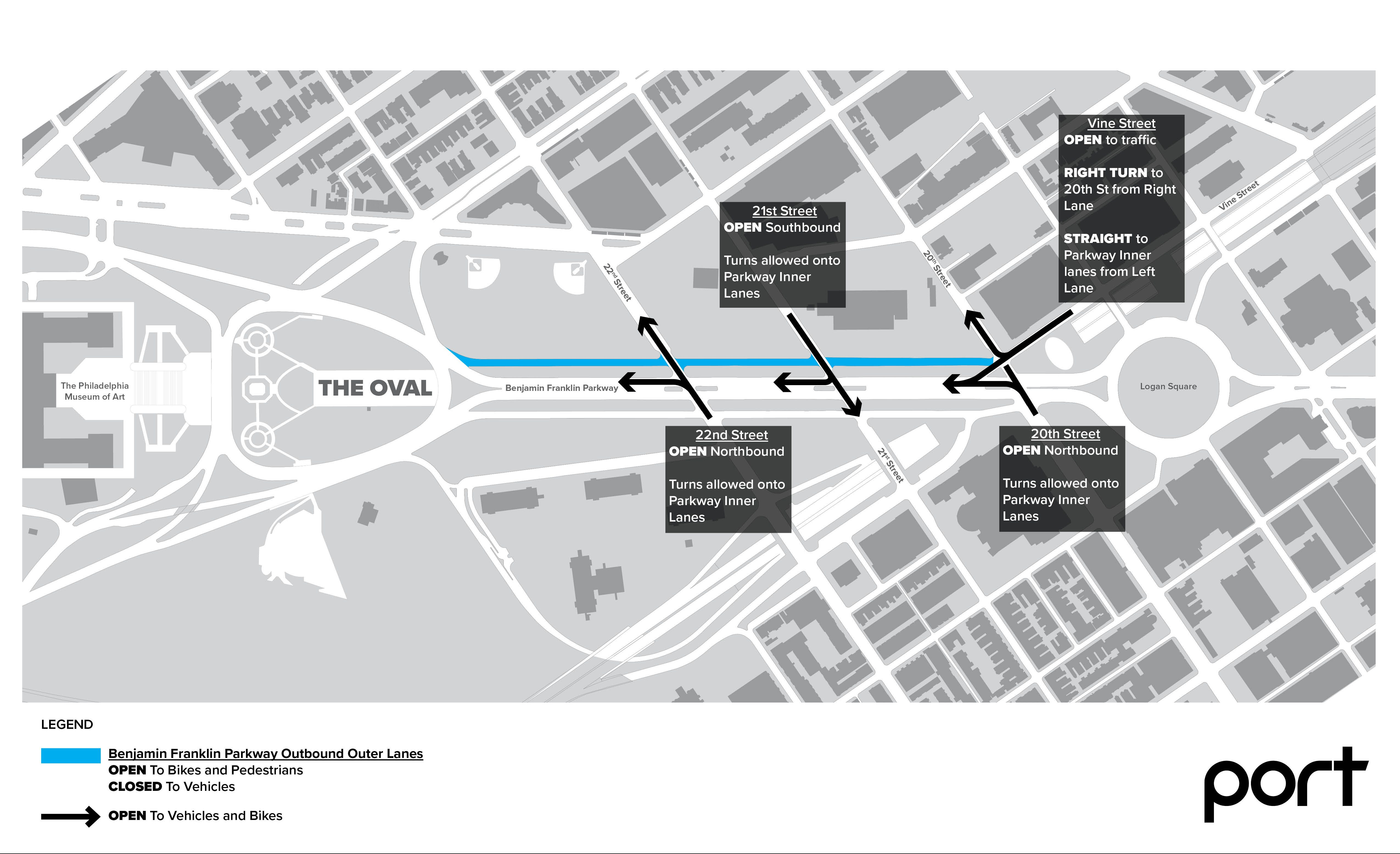 The Oval+ 2018 will bring road closures to three blocks of the Parkway's outermost northern lanes.