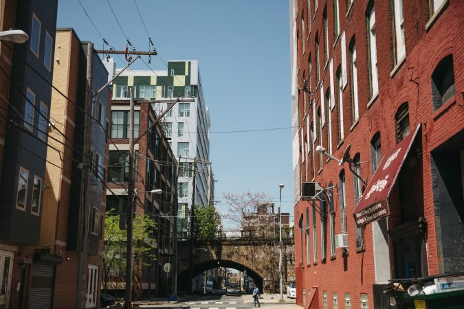The Reading Viaduct wends its way through Callowhill, its tunnels framing views through the changing neighborhood. May 2018