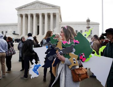 Ashley Oleson, with the League of Women Voters of Maryland, carries signs of the state's districts, before oral arguments in the Supreme Court in March.  (AP Photo/Jacquelyn Martin)