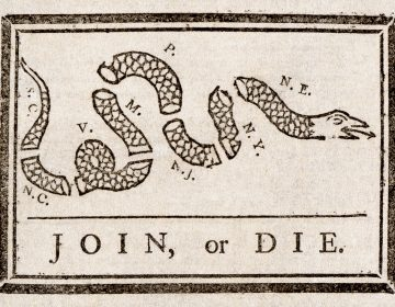 This political cartoon (attributed to Benjamin Franklin) was to encourage the American colonies to join the Albany Plan for Union. From The Pennsylvania Gazette, May 9, 1754. (Benjamin Franklin [Public domain], via Wikimedia Commons)