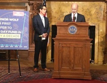 Governor Tom Wolf and Treasurer Joe Torsella announced Thursday that the state can afford to put money into its Rainy Day fund for the first time in a decade. (Katie Meyer/WITF)