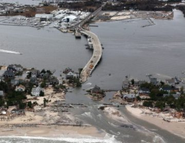This aerial photo shows storm damage from Sandy in Mantoloking, N.J., Oct. 31, 2012. (Doug Mills, AP Photo, Pool)