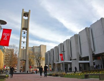 Students walk past Samuel Paley Library on the Temple University campus (Emma Lee/WHYY)