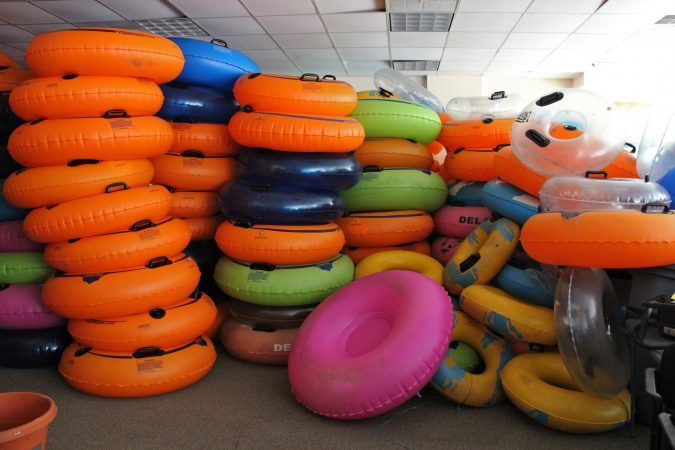 Hundreds of tubes fill a storage room at Delaware River Tubing, which on a peak season weekend day floats more than a thousand people down the river. (Emma Lee/WHYY)