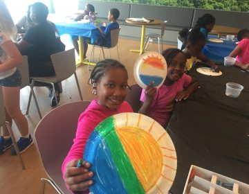 Students from Charter School of New Castle take arts and crafts along with academic classes and recreational activities. (Cris Barrish/WHYY)