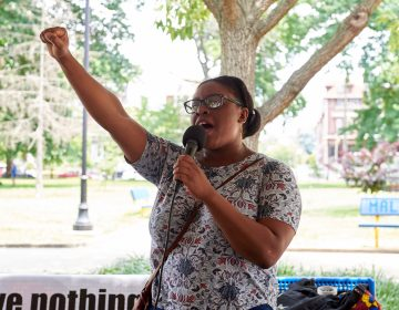 Megan Malachi of Philly REAL Justice speaks during the Antwon Rose Rally in Philadelphia on Sunday July 1, 2018. She says,