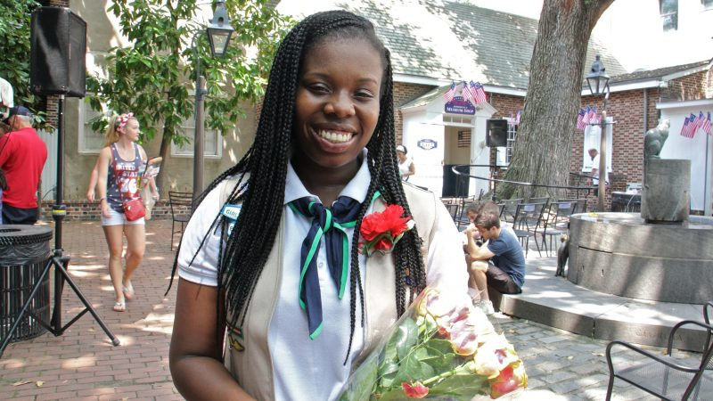 Girl Scout Kayla Davis, a senior at Central High School, earned a Gold Award for her work promoting religious equality. She spoke at the annual Children's Citizenship Ceremony at the Betsy Ross House. (Emma Lee/WHYY)
